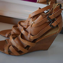 Nine West Size 9.5 M Nwarzytoo Heels Sandals Brown Leather Wedges Euc Strappy Photo