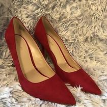 Nine West Slip on Red Spike Heels Soft Textile Shoes 9.5 M Euc Free Mask Photo