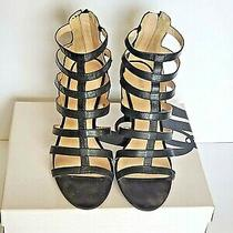 Nine West Strappy Black Soft Leather Women's Size 8 Mid Heel  Photo
