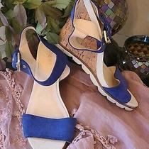 Nine West Summer Wedges  Women 8.5 Us  Blue & White Photo