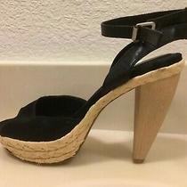 Nine West Sz 6.5 Black Satin Open Toe Ankle Strap Woven Platform 4-5in Cone Heel Photo