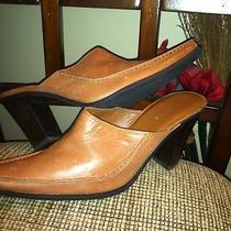 Nine  West Sz 7 1/2 M Brown Leather Slides  Clogs Shoes Heels Rj -B2 Photo