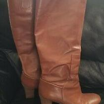 Nine West Tall Genuine Leather Boots Tan Size 8.5m Photo