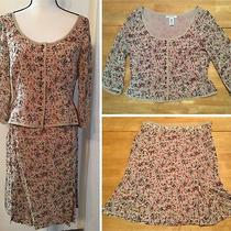 Nine West Tan Red Brown Floral Silk 3/4 Sleeve Top Flare Skirt Set Lined Sz 8 10 Photo