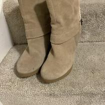 Nine West Tan Suede Leather Buckle Wedge Heel Ankle Sherpa Booties Size 7.5 Photo