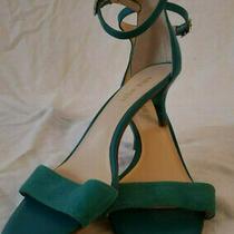 Nine West Teal Open Toe Kitten Heel Suede/leather Sandals W/ Ankle Strap Sz 6.5 Photo
