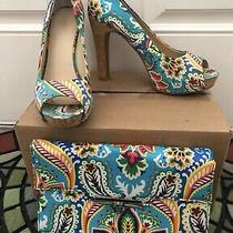 Nine West Teal Paisley Heels and Clutch Size 9 Photo