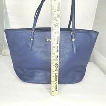 Nine West Tote Shoulder Bag Purse Blue Vegan Leather With Multiple Compartments Photo
