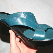 Nine West Turquoise Navy Blue Slip-on Open Toe Slides Wedge 6 37 Sandals 45 Photo