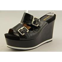 Nine West Vachel  Womens Size 6.5 Black Leather Wedge Sandals Shoes Used Photo