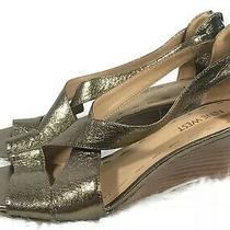 Nine West Wedge Womens Size 8 Sandals Shoes Pumps Dark Gold Metallic Leather Photo