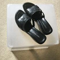 Nine West Wnzamilla Heels Leather Upper Women's 6m Black Open Toe Sandal  Photo