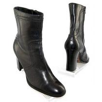 Nine West Women Leather Mid Calf High Heel Side Zip Snow Winter Boot Shoe Sz 8 M Photo