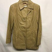Nine West Women's Beige Leather Blazer Soft 3-Button Jacket  Coat Size Medium Photo