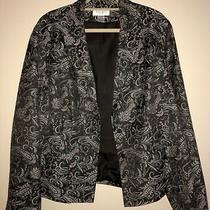 Nine West - Women's Blazer -  Brown With Tan/teal Paisley Print - 20w  Euc Photo