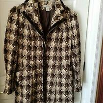 Nine West  Women's Brown and White Lame Coat Size Medium Photo