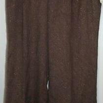 Nine West Women's Casual Pants-Brown W/ Sparkles-Size 8-Wide Legs-Polyester-Nwt Photo
