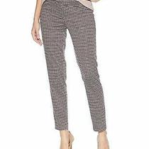 Nine West Women's Porto Pants Black Size 12 Stretch Houndstooth Ankle 89 415 Photo