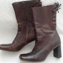 Nine West Women's Rand Size 10 1/2 Medium 10.5 M Mid Calf Boots Brown Leather Photo