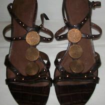 Nine West Women's Shoes Roberta Dark Brown Leather Ankle-Strap Sandals Size 9.5 Photo