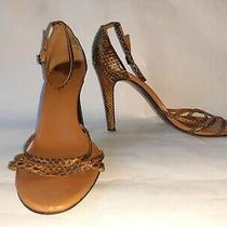 Nine West Women's Size 8 Bronze/brown Real Leather Snakeskin High Heel Sandals Photo