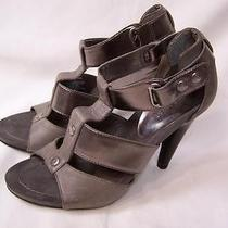 Nine West Women's Soft Silver/pewter Leather Sandals Sz 6.5 M Excellent Preowned Photo