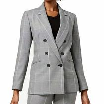 Nine West Women's Suit Blazer Gray Size 12 Career Printed Plaid Jacket 129 034 Photo