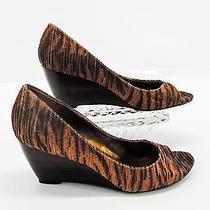 Nine West Womens Brown Pleated Animal Print Open Toe Wedge Heel Pumps Shoe 8 N5 Photo