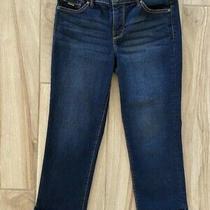 Nine West Womens Capri Straight Jeans Blue Christie Dark Wash Stretch 4 Photo