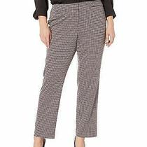 Nine West Womens Dress Pants Gray Red Size 14w Plus Stretch Houndstooth 99 471 Photo