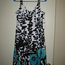 Nine West Womens Dress Size 10 Sleeveless Black White Aqua Floral Print Nwt Photo