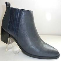 Nine West Womens Size 8 M Blue Leather Fashion Heel Ankle Boots Booties  Photo
