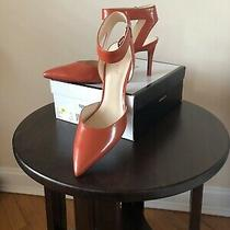 Nine West Womens Suzyo Pump Slim Heels Shoes Red Leather Ankle Strap Size 11m Photo