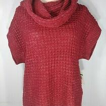 Nine West Womens Sz Pl Lot of 2 Cowl Neck Short Sleeve Red White Sweater Top New Photo