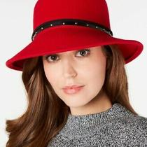 Nine West Wool Hat Size One Size New Ship Free Red Trench Faux Leather Band Photo