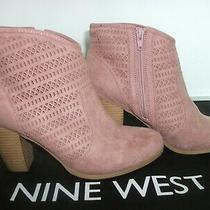 Nine West Zahina3y Faux Suede Zip-Up Booties Size 8.5 Blush Photo
