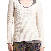 Nip Anthropologie Revelry Cabled Sweater Size Xs Ivory 98 Photo