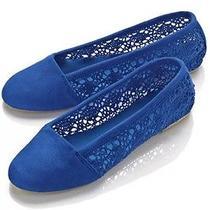 Nip Avon Lovely Crochet Blue Flats Size 9.5/10 Back to School Sale Photo