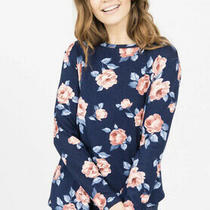 Nip & Nwt Agnes and Dora Navy Blush Floral  Crossover Sweater- Size Xl Photo