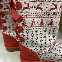Nip Ugg Womens Holiday Sweater Ribbon Red Fashion Boot Size 8 Valentines Day Too Photo