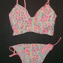 Nip Victoria Secret White Floral Longline Halter String Bikini  M S Photo