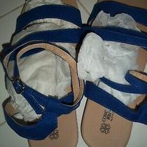Nip Woman's Blue Avon Brand Cushion Walk Flat Ankle Wrap Sandals Size 9 Photo
