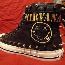 Nirvana Grunge Kurt Cobain Custom Studded Converse Chuck Shirt Mens Shoes Spikes Photo