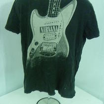Nirvana Men L Black Guitar Graphic Alternative Rock N Roll Band T Tee Shirt Photo