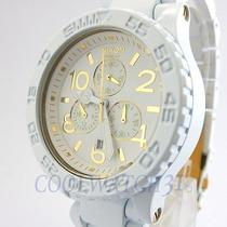 Nixon A037-1035 A0371035 Watch Unisex 42-20 Chrono All White Gold W/link Ems New Photo