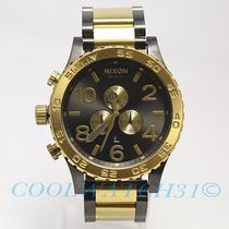 Nixon A083-595 A083595 Watch 51-30 Chrono Gunmetal & Gold New 106w/chopsticks 3 Photo