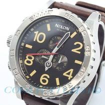 Nixon A124-019 A124019 Watch Mens 51-30 Chrono Leather Black Brown Nib Ems New Photo