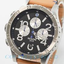 Nixon A363-1602 A3631602 48-20 Mens Watch Chrono Black Dial Natural Leather New Photo