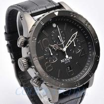 Nixon A363-1886 A3631886 Mens Watch 48-20 Chronograph Leather Strap Black New Photo