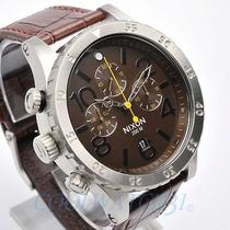 Nixon A363-1887 A3631887 Mens Watch 48-20 Chrono Leather Strap Brown Dial New Photo